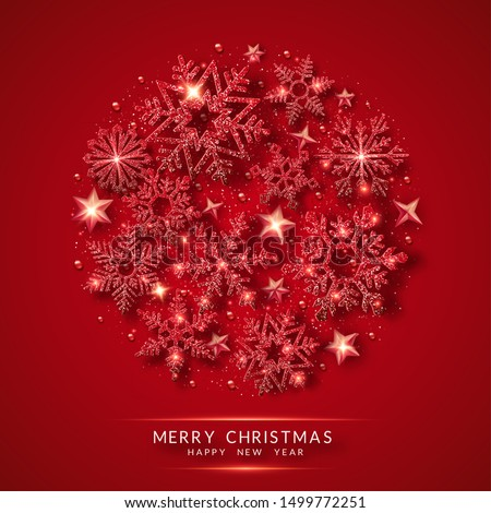 Christmas background with shining red snowflakes and snow. Circle shape. Merry Christmas vector card illustration on red background. Sparkling red snowflakes with glitter texture