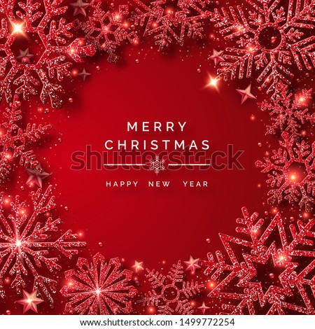 Christmas background with shining red snowflakes and snow. Round frame shape. Merry Christmas vector card illustration on red background. Sparkling red snowflakes with glitter texture
