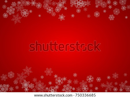Christmas background with silver snowflakes and sparkles. Horizontal New Year and Christmas background for party invitation, banner, gift cards, retail offers. Falling snow. Frosty winter backdrop. #750336685