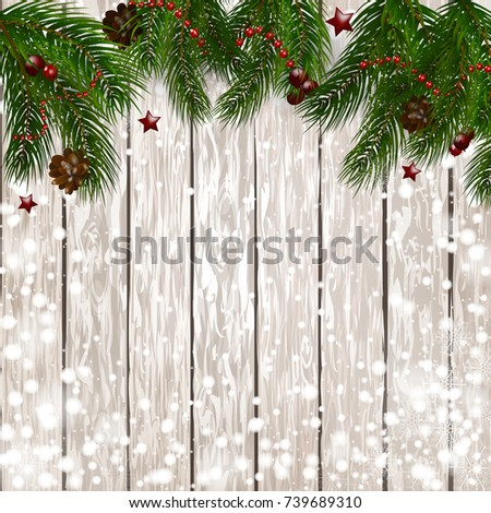 Christmas background with snow, Christmas ornaments and snow fir branches with red berries on a wooden background. Vector illustration. EPS10. #739689310