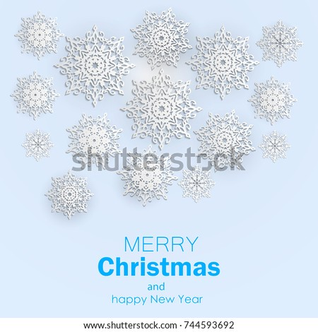 christmas background with snowflakes #744593692