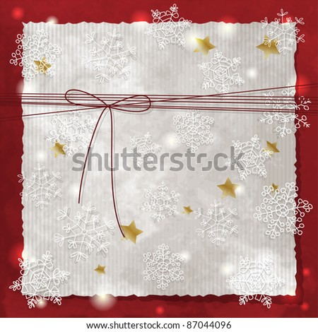 Christmas background with snowflakes and bow