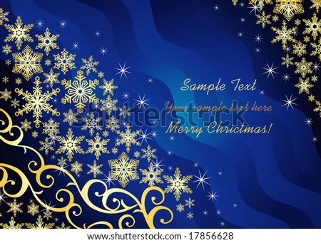 Christmas background / with snowflakes and ornament / vector