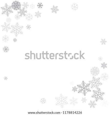 Christmas background with snowflakes and place for text. Winter silver snow minimal decoration on white, greeting card. New Year Holidays backdrop. Vector illustration EPS 10
