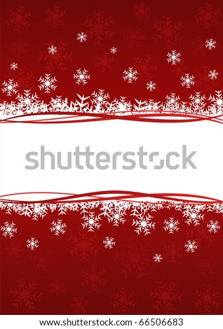 Christmas background with snowflakes in red color. Image has free space for Your text