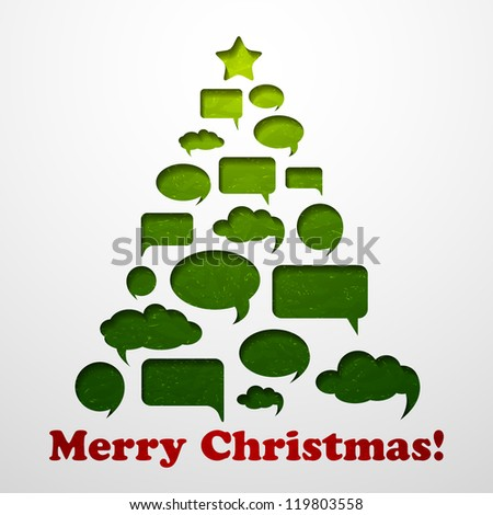 Christmas background with  speech bubbles tree