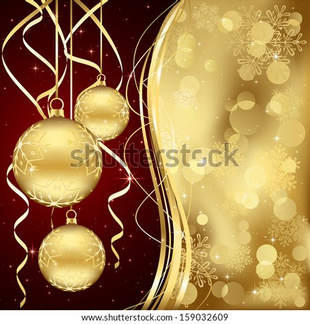 Christmas background with three golden baubles, illustration.