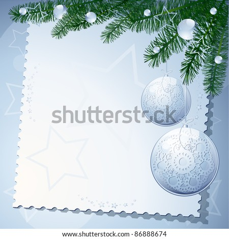 Christmas background with tree and balls. vector
