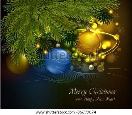 Christmas background with tree and balls. Vector illustration