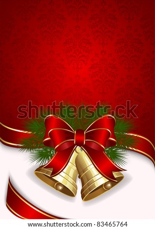 Christmas background with two bells, illustration