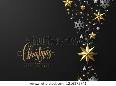 christmas background with vertical border made of gold and white stars silver snowflakes and shiny