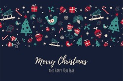 Christmas background with vintage elements. Unique handdrawn design elements for greeting card made in vector. Xmas illustration with place or your text.