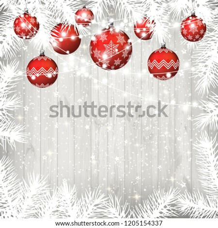 Christmas background with white branches, garland and realistic transparent red balls on old white wooden background. #1205154337