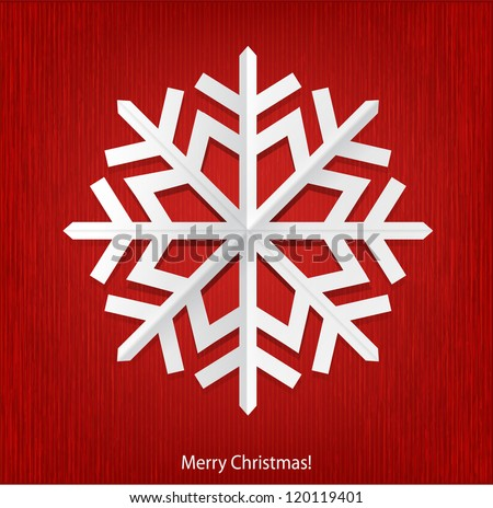 Christmas background with white paper snowflake. - stock vector