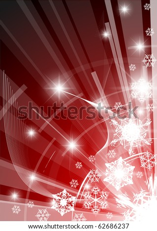 Christmas background with white snowflakes red version