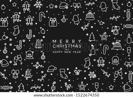 Christmas background with Xmas objects, linear style design elements. vector illustration