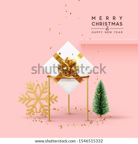 Christmas background. Xmas composition realistic 3d and realistic design, gift box, golden sparkle snowflake, decorative pine tree, green spruce, falling glitter gold confetti. space for text on shelf