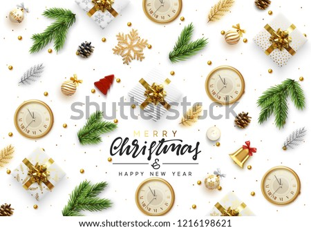 Christmas background. Xmas objects viewed from above. Text Merry Christmas and happy New Year. Greeting card, banner, web poster. Festive realistic 3d render objects. Vector illustration