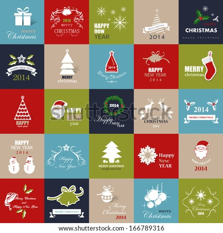 Christmas Backgrounds Set Vector Illustration Graphic Design Editable For Your Design Modern Design Labels Happy New Year