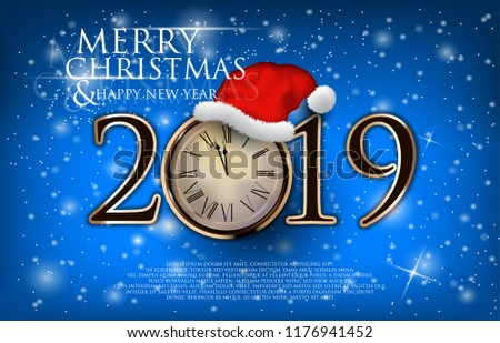 Christmas Backgrounds With Wooden Clock Isolated On A Blue Snowy Background Vector Illustration