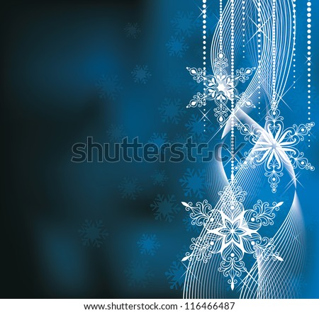 Christmas backround in blue colors with snowlakes