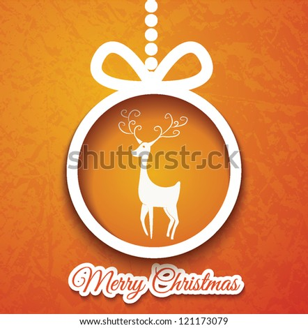 Christmas ball and deer cutted from paper on blue background. Vector eps10 illustration for your design.