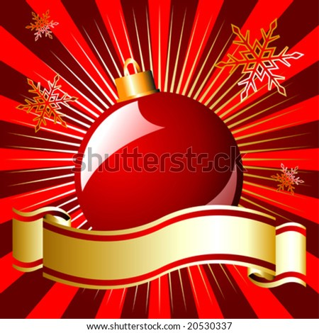 Christmas ball and ribbon over starry red background - stock vector