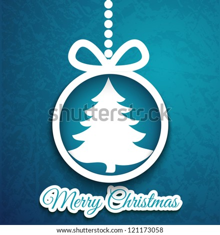 Christmas ball and tree cutted from paper on blue background. Vector eps10 illustration for your design.