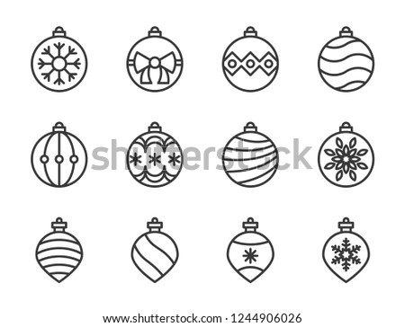 christmas ball, bauble icon set, suitable for use as material, outline design