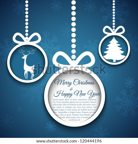 Christmas ball cut from paper on blue background. Vector eps10 illustration for your design.