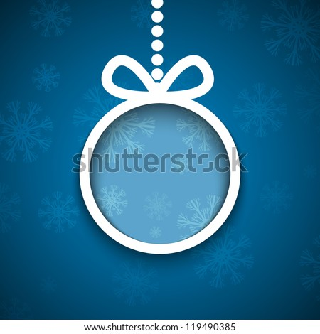 Christmas ball cutted from paper on blue background. Vector eps10 illustration for your design.