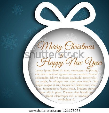 Christmas ball cutted from paper on dark blue background with gold sample text. Vector eps10 illustration for your design.