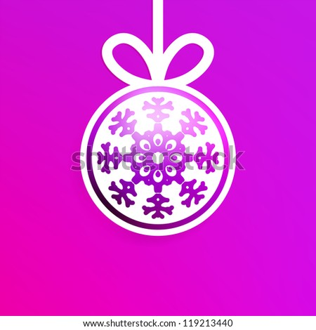 Christmas ball cutted from paper on red background.  + EPS8 vector file