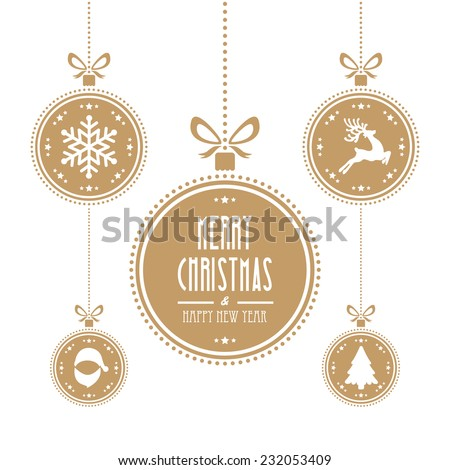 christmas ball gold isolated background