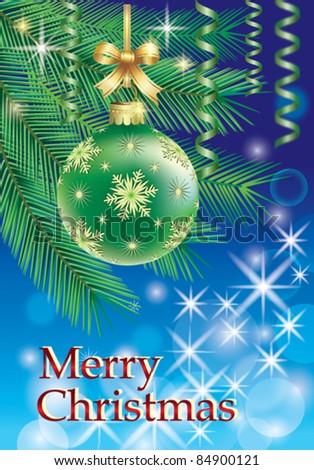 christmas ball hanging from fir-tree - stock vector