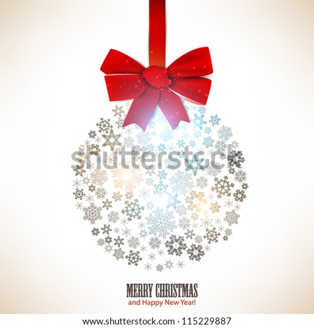 Christmas ball made from snowflakes. Christmas background - stock vector