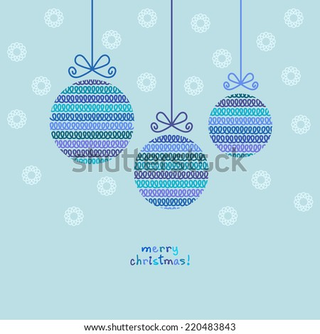 Christmas ball of doodle knitted shapes. Greeting, invitation card with decoration. Simple illustration for print, web