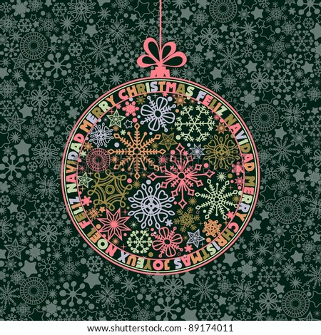 Christmas ball of snowflakes mosaic and round text wishes in different languages - stock vector