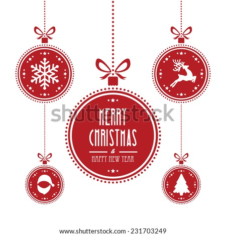 christmas ball red isolated background
