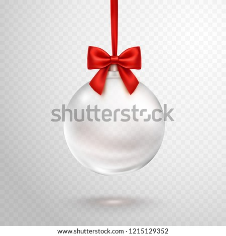 Christmas ball with red ribbon isolated on transparent background. Clear crystal Christmas tree toy. Vector translucent glass xmas bauble template.