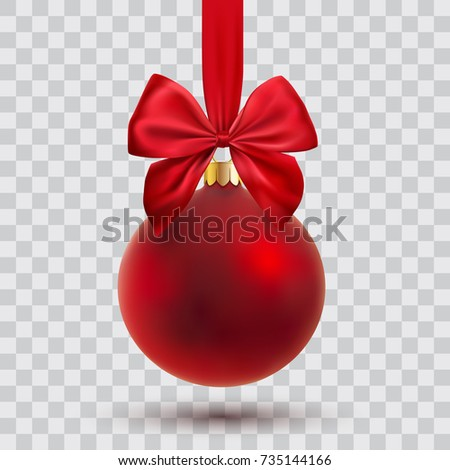christmas ball with ribbon and bow, vector illustration