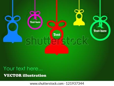 Christmas balls and bells on green background - Vector illustration. Christmas applique background for your design
