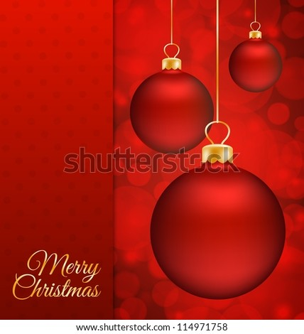 Christmas balls and red abstract background with place for text