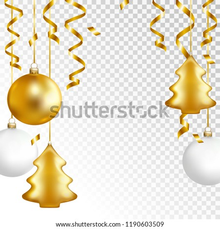 Christmas balls and serpentine on transparent background. Vector illustration.