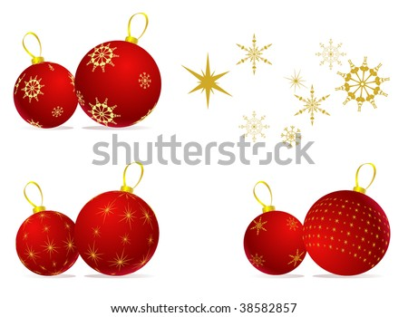 Christmas balls and snowflake