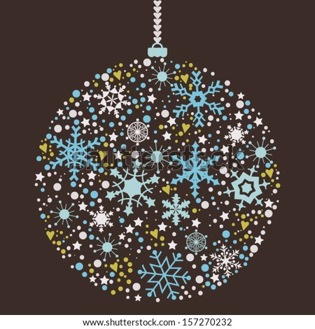 Christmas balls background made from snowflake. Stylized Christmas ball.
