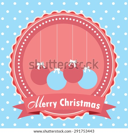 Christmas balls. Christmas Greeting Card. Merry Christmas lettering Vector Illustration.