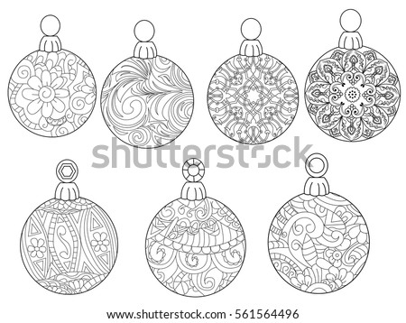 Christmas Balls Coloring Book For Adults Vector Illustration Anti Stress Adult
