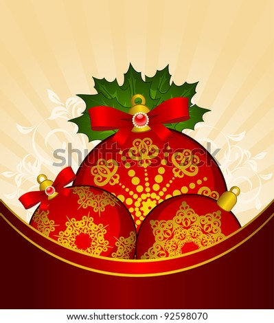 Christmas balls decoration Happy New Year bauble. Vector
