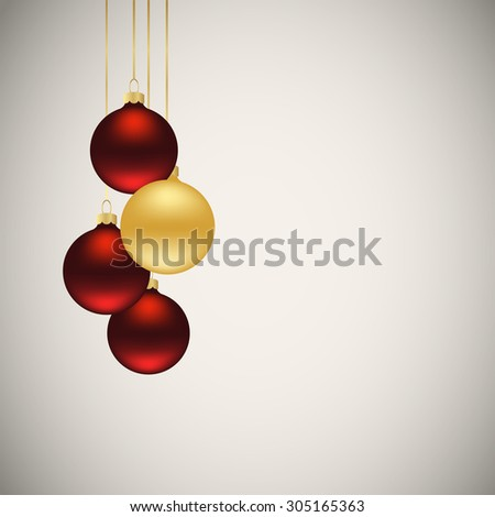 Christmas balls hanging on gold thread. Vector illustration #305165363